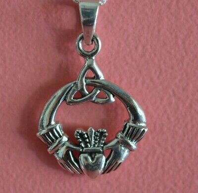 925 Sterling Silver Love Heart Irish Celtic Claddagh Charm Necklace Jewelry