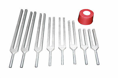 Chakra and Genesis set of 8 Healing Tuning Forks with activator & Pouch