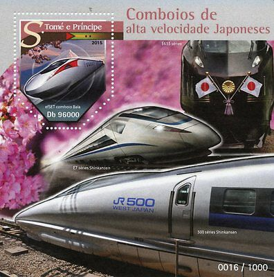 Sao Tome & Principe 2015 MNH Japanese High Speed Trains 1v S/S EfSET Bullet
