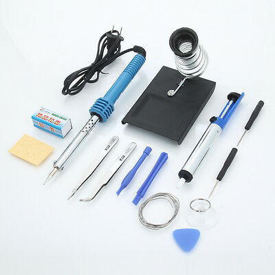 14in1 Electric Soldering Tools Kit Set with Iron Stand Desoldering Pump 60W 110V