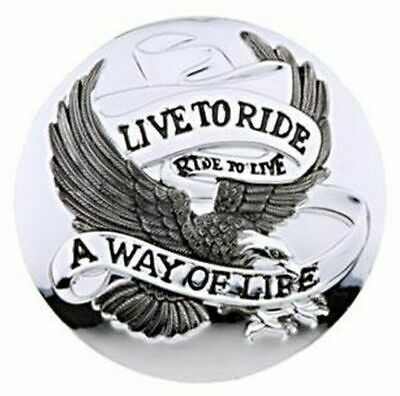 Live To Ride Chrome Petrol Cap Cover - Motorcycle/Trike/Harley