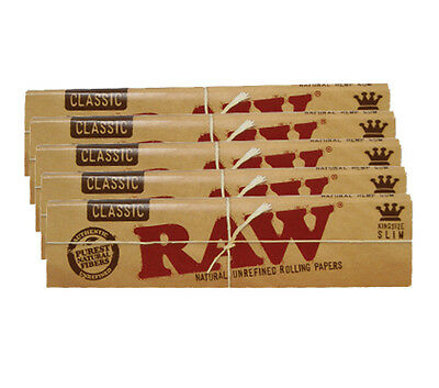Raw Classic King Size Slim Rolling Papers - 5 Packs