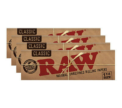 Raw Classic 1 1/4 Rolling Papers - 4er Pack