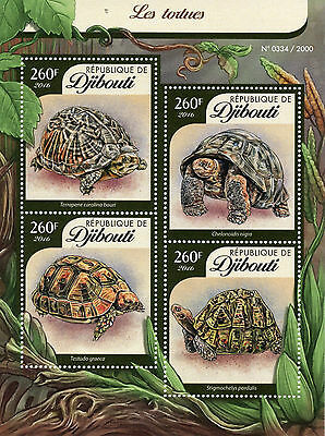 Djibouti 2016 MNH Turtles 4v M/S Reptiles Tortues