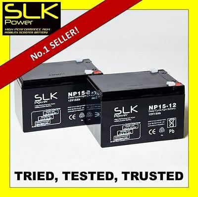 2  x 12v 15AH SLK POWER MOBILITY SCOOTER BATTERIES - MORE POWER THAN 12AMP