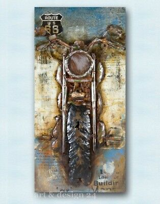 "GILDE GALLERY - Metallkunst in 3D-Optik ""MOTORCYCLE"" 140 x 70 cm - NEU !!"