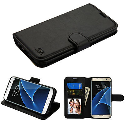 For Samsung GALAXY S7 Edge Leather Flip Wallet Case Phone Cover Stand Black book