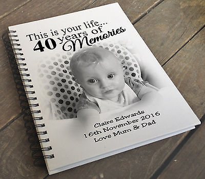 Large personalised scrapbook photo album, A4 sized album, 40th birthday present