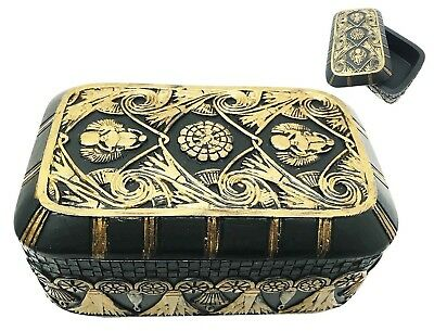 Ancient Egyptian Collectible Scarab Ra Solar Jewelry Box Trinket Black & Gold