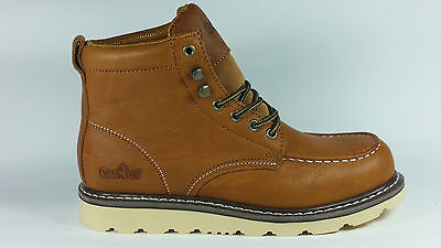 """Cactus Work Boots 6061M Light Brown Real Leather 6 """" Moc Toe New In Box"""