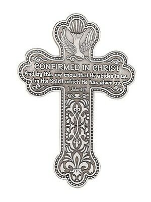 Confirmed In Christ Pewter Confirmation Cross Wall Plaque Gift Boxed