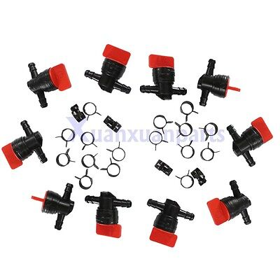 """10x 1/4"""" InLine Straight Gas Fuel Cut off Shut Off Valve & Clamps 494768 698183"""