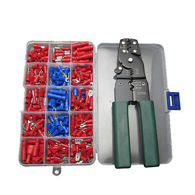 240pc Spade Ring Terminals with Wire Cutter Crimper Stripper Tool Assortment Kit