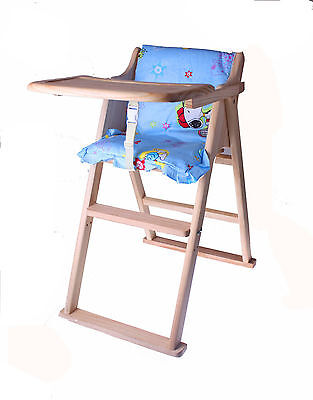 Wooden Baby Highchair Foldable Natural Wood Safe Non Toxic Comfortable Feeding