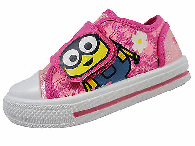 Minions Girls Summer Canvas Pump Trainer Despicable Me hook and loop fastening