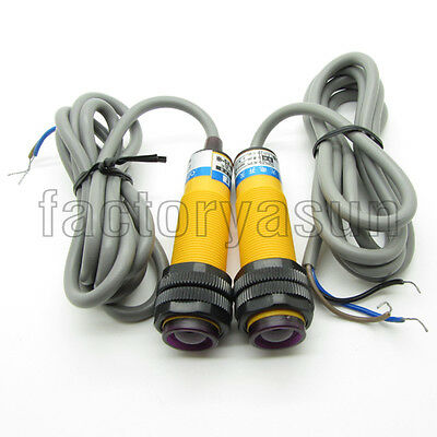 Photoelectric Switch NPN 5m 3-wires NO Through Beam Type Dia. 18mm E3F-5DN1-5L