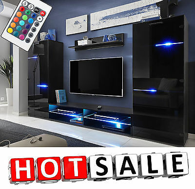 TV Unit Cabinet Living Room Set Wall Shelf Furniture Cupboard Modern Stand LED