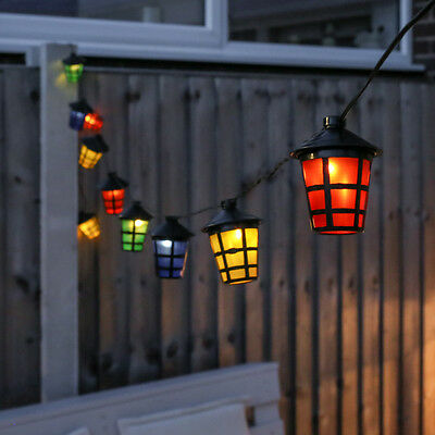 10 Led Solar Power Outdoor Garden Wall Fence Hanging Fairy String Lantern Lights