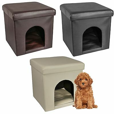 Foldable Ottoman Pet Hideaway Dog Cat House Bed Foot Stool PVC Leather With Lid