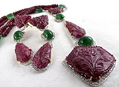 Collectors Natural Ruby Carved Emerald Cabochon  Diamond 18Kgold Necklace Set