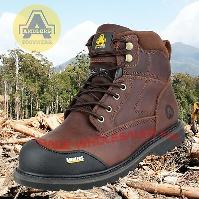 Ambler Crazy Horse Leather Fs167 Steel Toe Cap Safety Work Boots