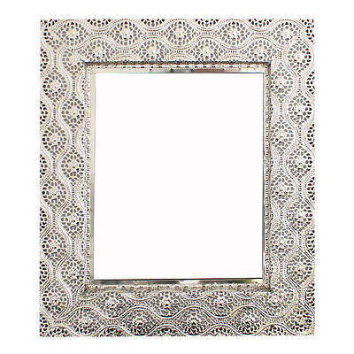 Medium Moroccan Silver Lace Effect Rectangle Wall Hanging Mirror 37cm x 31cm