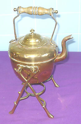 Antique Victorian Small Brass Spirit Kettle On Stand Fireplace Hearth Engraved
