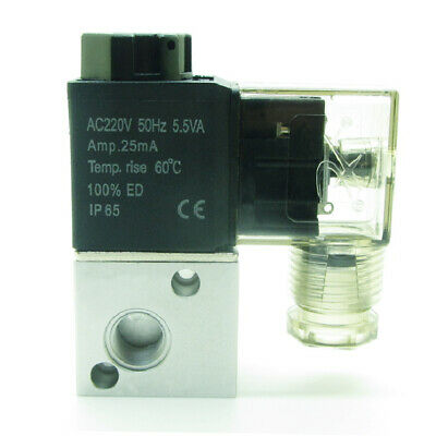 "AC220V 3 Way 2 Position NC Pneumatic Air Solenoid Valve 1/8""PT Aluminum 3V1-06"