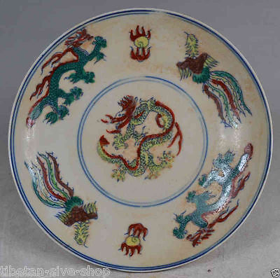 Old Decorated Handwork Ming Dynasty Porcelain Drawing Dragon & Phoenix Plate