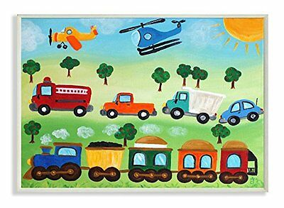 The Kids Room by Stupell Planes, Trains, and Automobiles Rectangle Wall Plaque,
