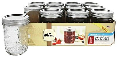 Kerr - Regular Mouth 8 oz. Quilted Crystal Jelly Mason Jars Freezer Safe - 12
