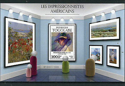 Togo 2015 MNH American Impressionists 1v S/S Paintings Edmund Charles Tarbell
