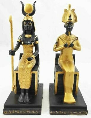 Ancient Egyptian Goddess Isis & Osiris Throne Seated Figurine Gift Sculpture Set