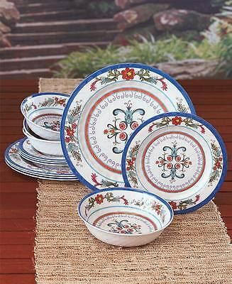 Moroccan Inspired Dinnerware Set 12 Pc Plates Bowls Kitchen Table Home Decor