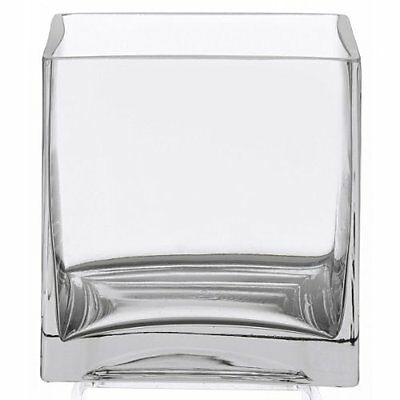 New Square Clear Cube Glass Vase Whisky Drink Centerpiece 6 Inches