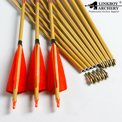 "12)archery carbon arrow w/ bamboo pattern 32"" SP500 orange turkey feather point"