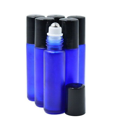 BLUE 6PCS 10ml frosted  ROLL ON GLASS BOTTLE ESSENTIAL OIL Perfume Roller Ball