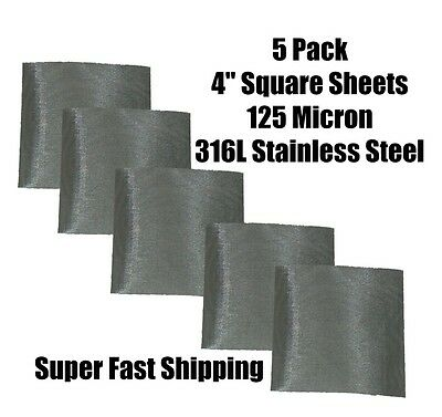 """5 Pack 4"""" sheets 120 Mesh (125 micron) 316L Stainless Steel kief sieve filter"""