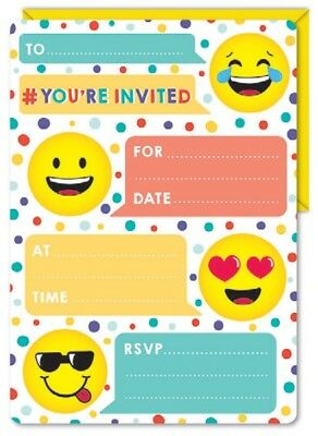 Emoji Themed Smiley Face Birthday Party Supplies 16 Invitations Envelopes Fun