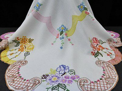 Vintage Irish Linen Tablecloth-Hand Embroidered Flowers-Exquisite