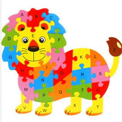 FD3450 Wooden Blocks Kid Child Educational Alphabet Puzzle Jigsaw Toy ~Lion~♫