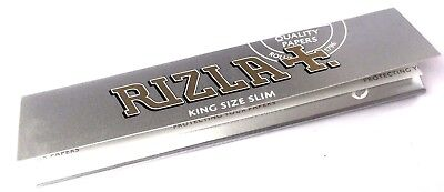 RIZLA SILVER KING SIZE SLIM ULTRA THIN Tobacco Cigarette ROLLING GENUINE PAPERS