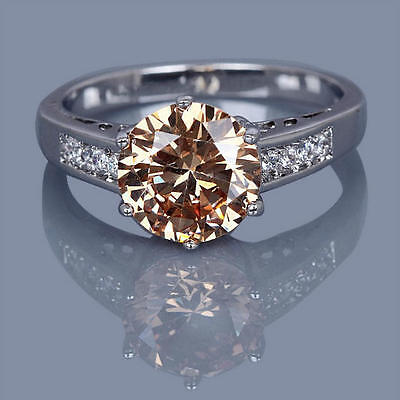 Magickal Clearing Protection Ring - 10k White Gold Filled Champagne Topaz Size 7