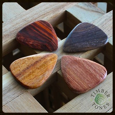 Timber Tones - Acoustic Guitar - Plectrums / Picks - Pack Of 4 Mixed Woods