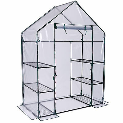 VonHaus Walk In Greenhouse PVC Plastic Garden Grow Green House with 6 Shelves