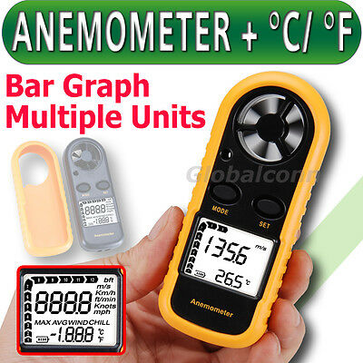 Anemometer Thermometer Air Wind Speed Velocity Flow Meter Gauge Bar Graph Temp