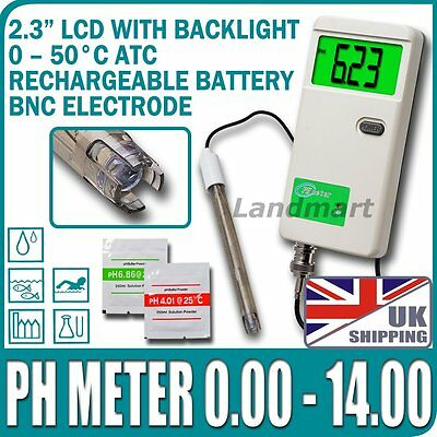 UK Rechargeable PH Meter Monitor Tester Replaceable BNC probe Backlight Adapter