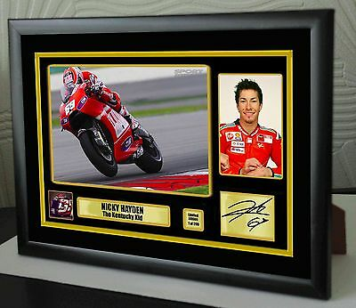"Nicky Hayden Motor Cycle Framed Canvas Print Signed Limited Edition ""Great Gift"""