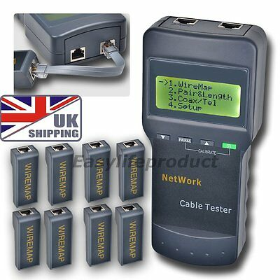 UK Network Wire LAN Phone Cable Tester SC8108 Meter Cat5 RJ45 Mapper 8 Jack