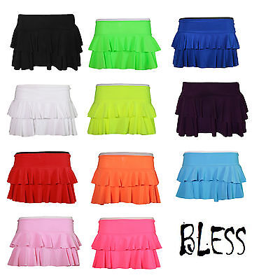 Girls Rah-Rah Skirt Rara Ra-Ra Short Dancing Salsa Tango Fluorescent Skirts Neon